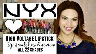 NYX High Voltage Lipstick ♥ Lip Swatches & Review ♥ ALL 22 SHADES | BeautyBuzzHub