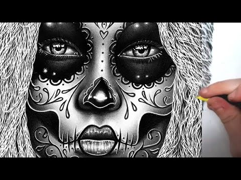 Pencil Drawing Semi Realistic Sugar Skull Girl Portrait Time Lapse Youtube
