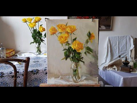 Рисуем натюрморт с розами поэтапно.