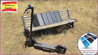 Panel solar portátil plegable Sunpower 54w 45V para cargar scooters eléctricos, patinetes Xiaomi M365 y Ninebot ES1 ES2 ES4 video