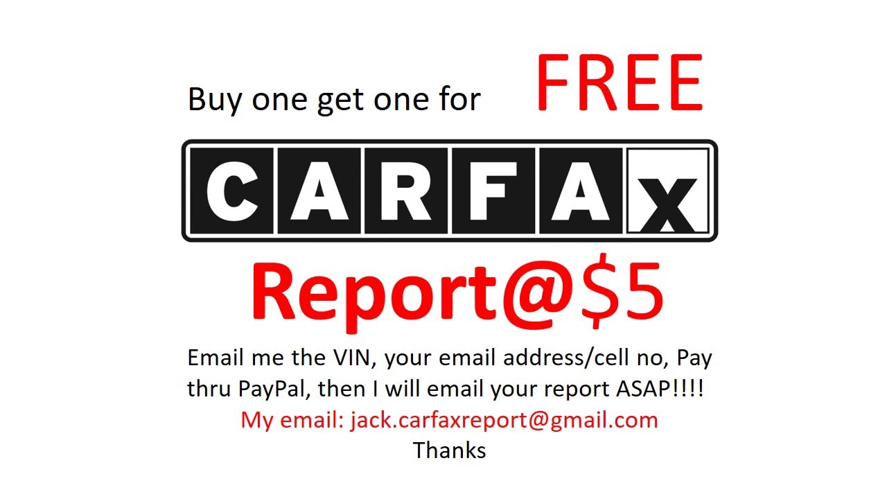 Free Carfax Report Youtube