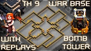 TH 9 (TOWN HALL 9) ANTI-VALK ANTI-HOG WAR BASE    BOMB TOWER    REPLAY PROOF    CLASH OF CLANS