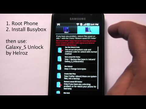 Unlock Samsung Galaxy S from stock Android 2.2 Froyo