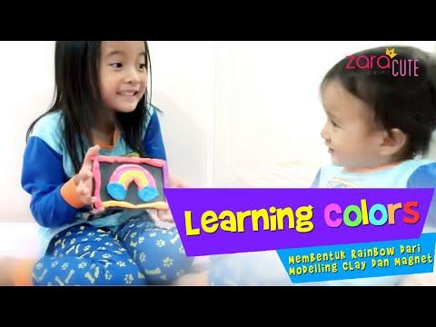 Learning Colors   Zara dan Kenzo Membuat Tempelan Kulkas Rainbow dari Modelling Clay dan Magnet