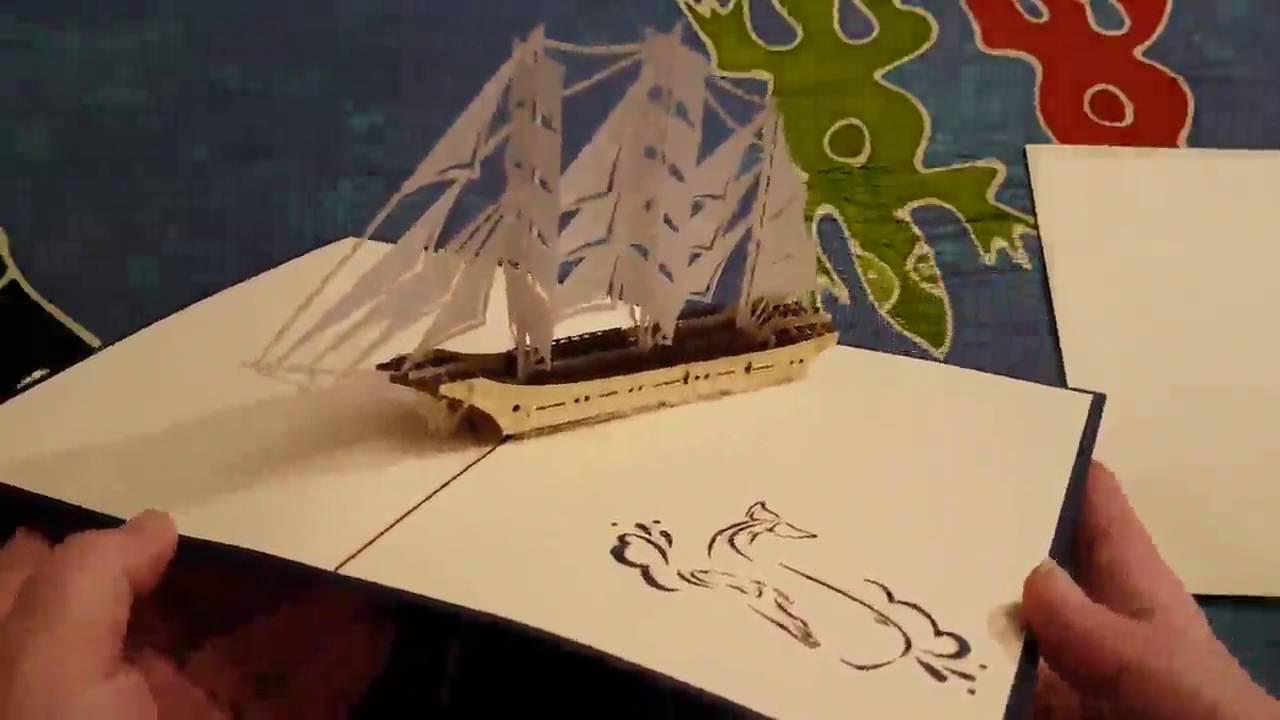 B11 Reise Geldgeschenk Pop Up Karte mit Segelschiff