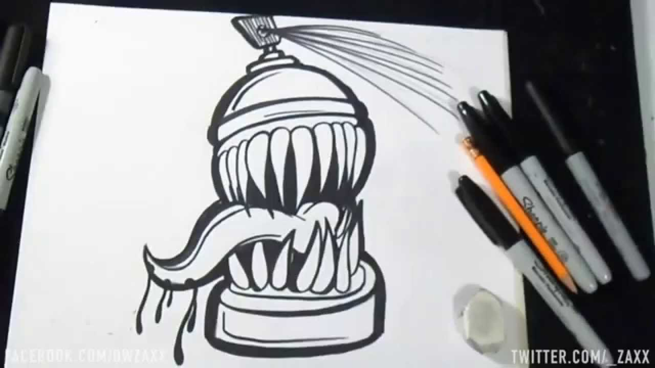 Speed drawing lata de spray graffiti zaxx youtube - Bombe de peinture graffiti ...