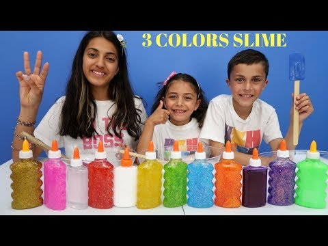 3 COLORS OF GLUE SLIME CHALLENGE family fun video