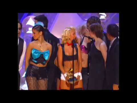 Christina Aguilera, Lil' Kim, Mya, and Pink accept the GRAMMY for Best Pop Collaboration in 2002