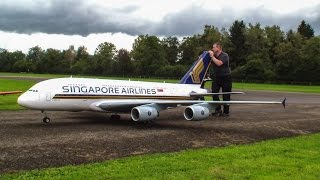 Worlds largest RC Plane in 4k - Airbus A380 Singapore Airlines 4 x Jetcat