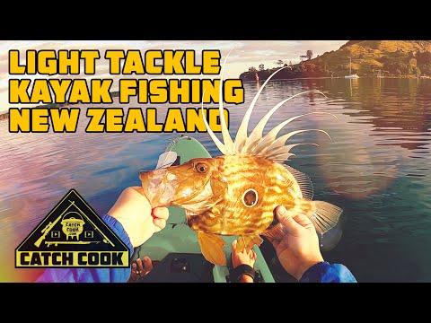 Light tackle kayak fishing - catch cook - New Zealand