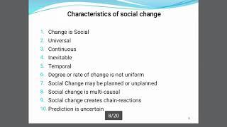(Sociology) Characteristics of Social Change