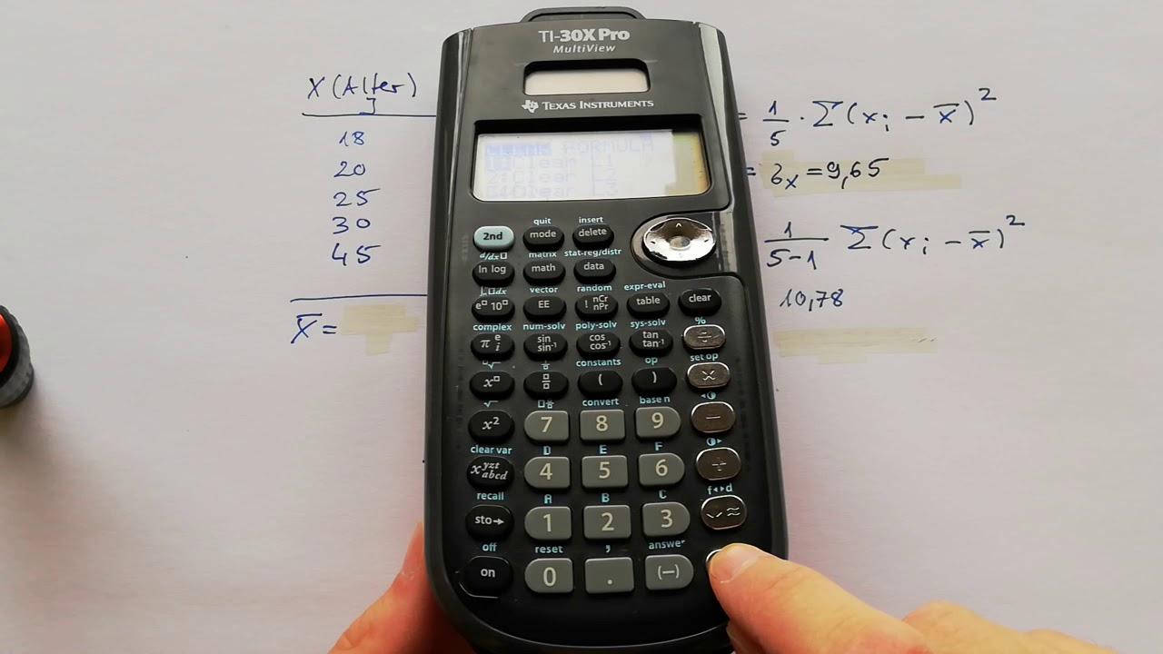 Standardabweichung Taschenrechner