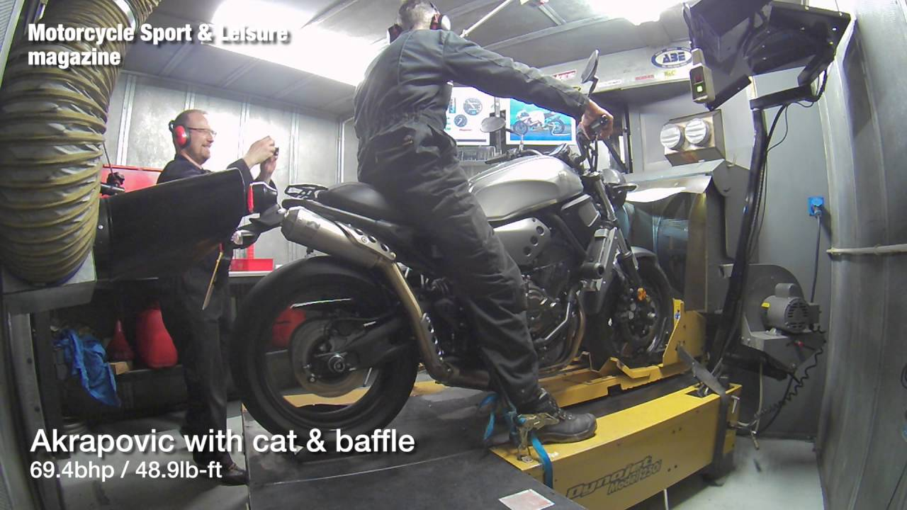 Yamaha XSR700 With Akrapovic Scrambler Exhaust On Dyno