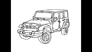 How to draw Police Jeep pencil drawing step by step