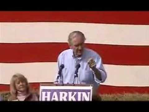 Tom Harkin introduces Barack Obama at 2006 Steak Fry