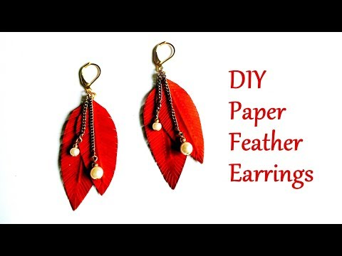 DIY Paper Feather Earrings | How To Make Feather Earrings | Paper Earrings