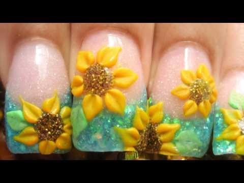 My sunflower field acrylic nails tutorial with 3d yellow flowers and blue glitter