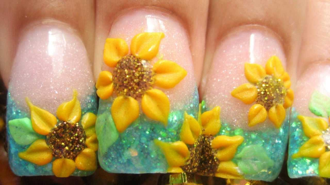 My Sunflower Field Acrylic Nails Tutorial With 3d Yellow Flowers And