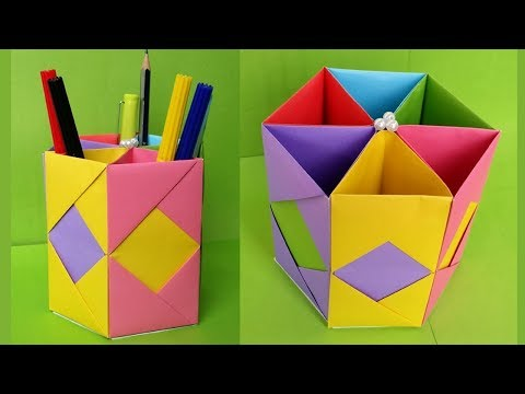 DIY- Paper Pen/Pencil holder | How to make Origami Pen Stand