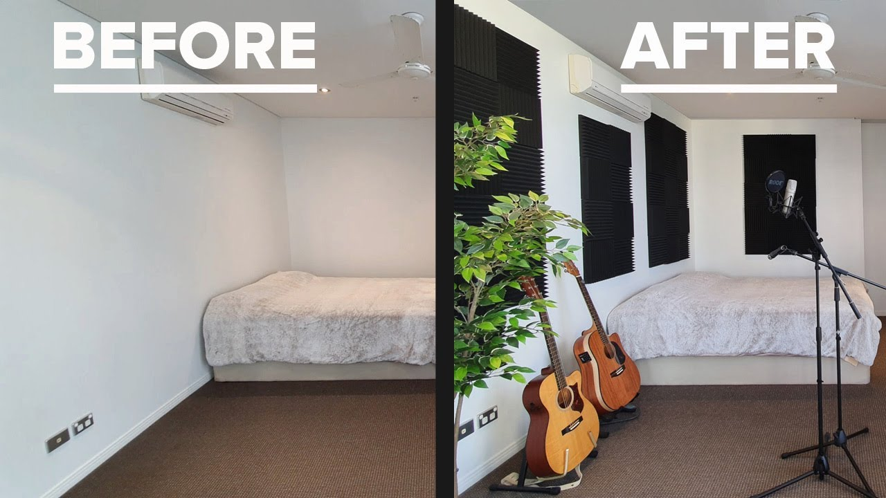 Acoustic Panels Before And After Test Clap Guitar Vox Bedroom To Nice Home Studio In One Day Youtube
