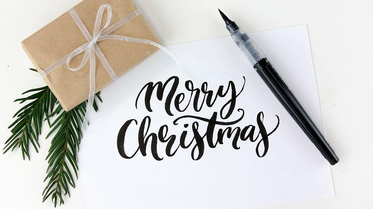 merry christmas brush lettering with a pentel color brush pen