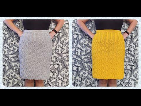 Видео как связать юбку спицами