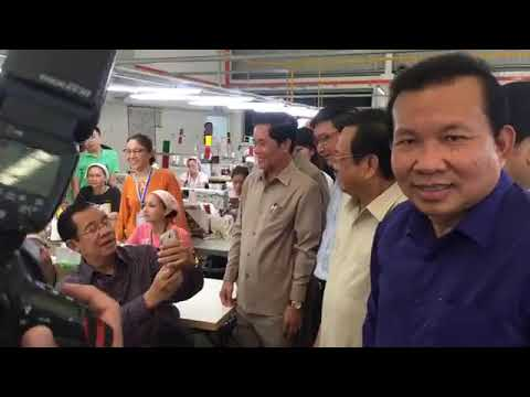 Samdech Hun Sen, Cambodian Prime Minister - Visited GIN SOVANN FASHION Cambodia  Limited factory