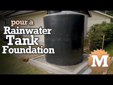 Rainwater Harvesting Tank Foundation - poured concrete & pea gravel