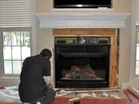 Visit our website for FREE Estimates: http://www.prosandflooring.com Ever want to know how to tile a fireplace? Watch our tile experts go to work on this fir...