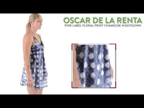 Oscar de la Renta Pink Label Floral Print Charmeuse Nightgown - Spaghetti Strap (For Women)