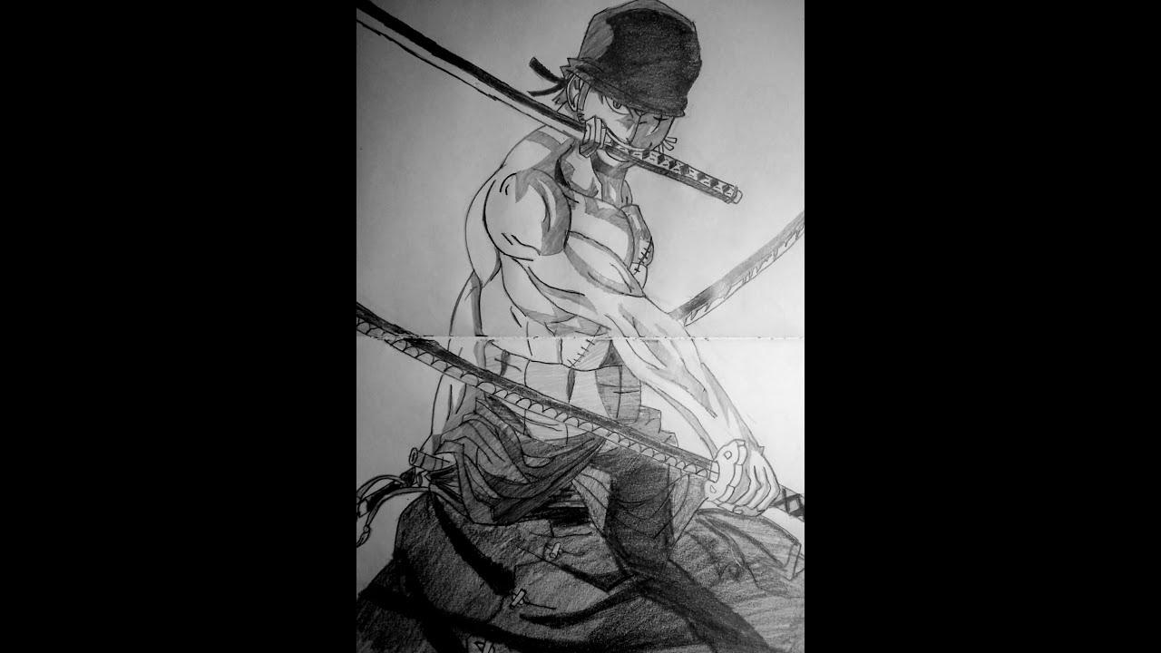 speed drawing anime roronoa zoro one piece youtube