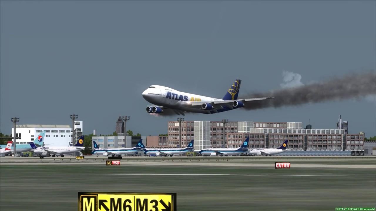 MAYDAY! Atlas Air 747-200F Engine Fire, Crash at Frankfurt