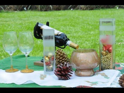 Ideas navide as como decorar con aerosol copas - Como decorar jarrones ...