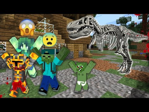 DON'T GET EATEN BY A SKELETON DINOSAUR! MARK FRIENDLY ZOMBIE AND BABY ZOMBIE CHALLENGE! Minecraft