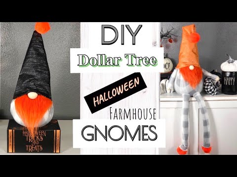 DIY DOLLAR TREE FARMHOUSE GNOMES HALLOWEEN DECOR | HALLOWEEN GNOMES DOLLAR STORE *NO SEW*