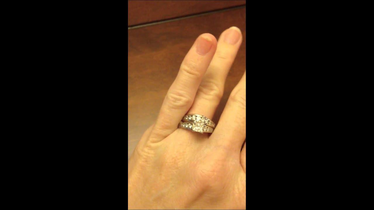 JARED CERTIFIED 1 12 CTW Princess Cut  Round Diamond Engagement Ring Bridal Set  34 CT