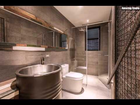 Industrie Badezimmer Mit Einem Holzrahmen Fur Den Spiegel