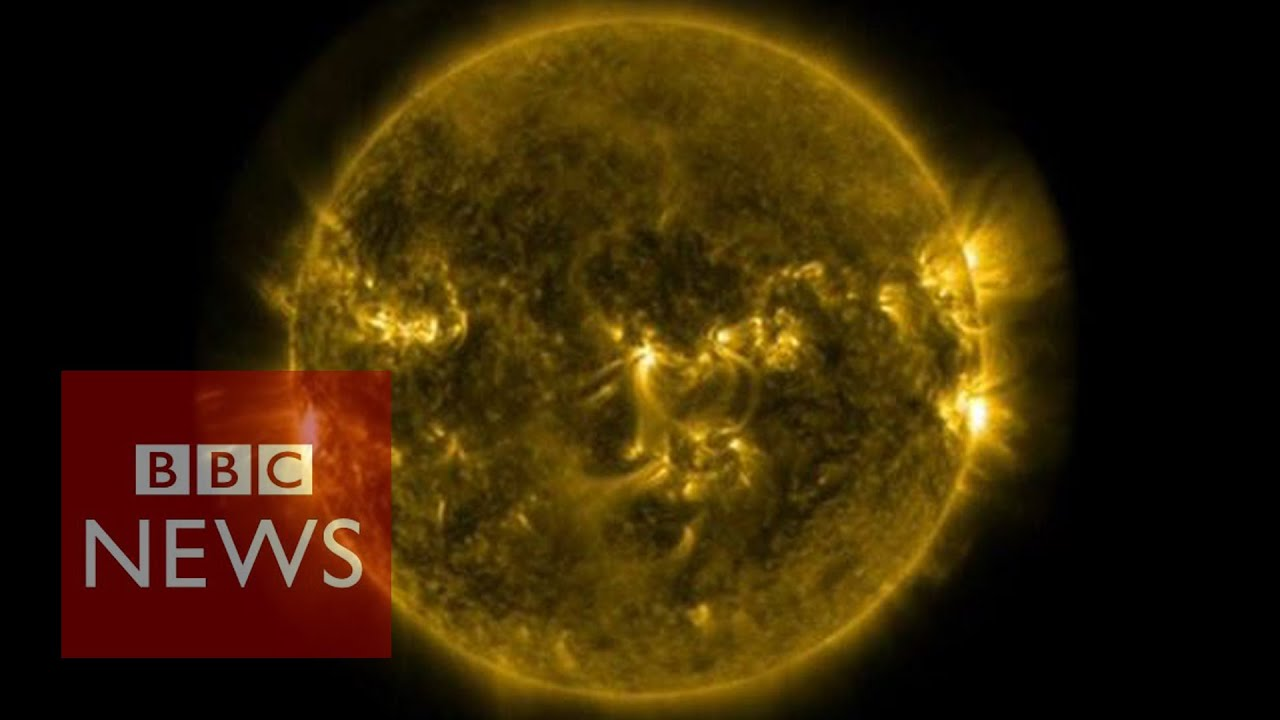 Solar Flares Footage Released By Nasa Bbc News Youtube