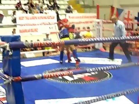 Muay Thai Sercan Kılıç EMF Avrupa şampiyonası 42 Kg Kırmızı Köşe