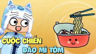 Cuộc chiến đào Mì Tôm trong Mini World | Meowpeo Mini Game