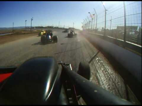 Kelly Denison in car video. NMMRA Sprint Car White Sands Speedway, Tularosa, NM 2-13-10