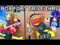 Driving Cardboard Box Cars to Fast Food Drive Thru Box Fort (Gone Wrong) Kids vs Parents!