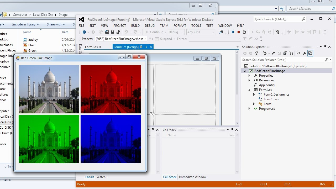 Visual Studio | Convert a color image into Red Green Blue image in C#
