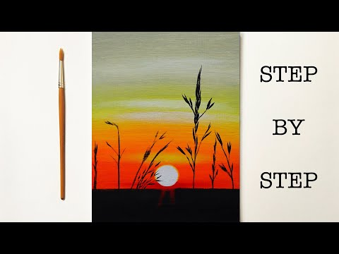 Easy Sunset for Beginners | Acrylic Painting Tutorial Step by Step ( ENG SUB )