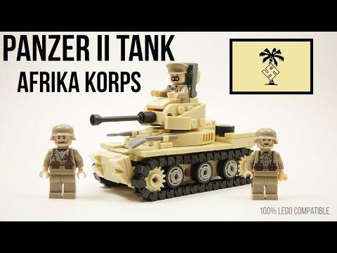 Lego WW2 GERMAN PANZER II TANK Africa Korps Battle of El Alamein Brickarms Minifigures Toy Review