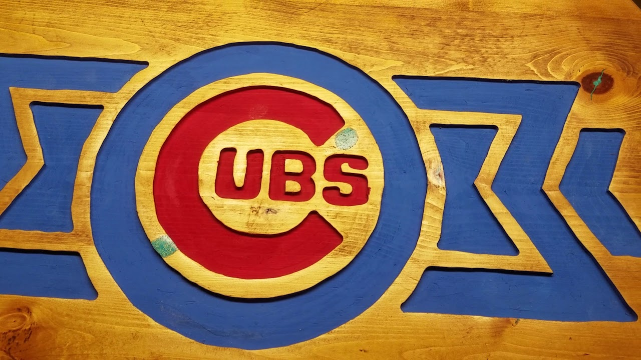 Chicago Cubs Arizona Spring Training Carved Wood Sign With Crushed Turquoise Inlay Pt 2