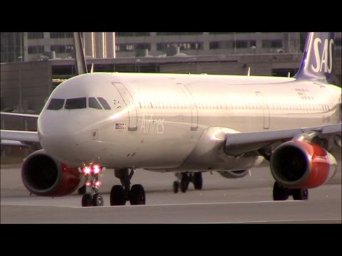 SAS Skandinavian a321 landing+taxi+take off at MUC!!!!