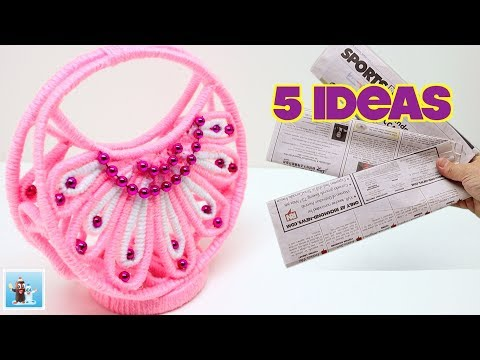 5 Beautiful Ideas for DIY Basket from Yarn Do It Yourself| Home Decor