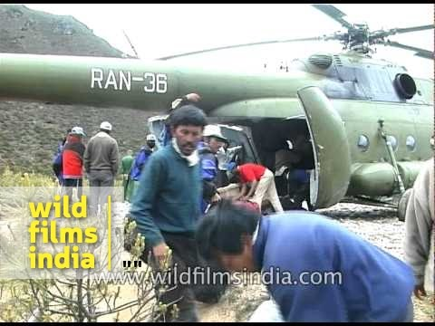 Expedition equipment loaded into Nepalese Army cargo helicopter, for Everest Expedition