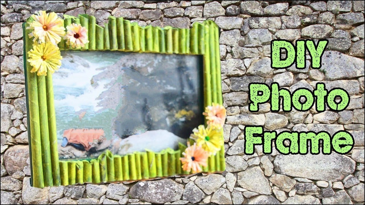 How to make photo frame at home handmade using waste for Waste materials at home
